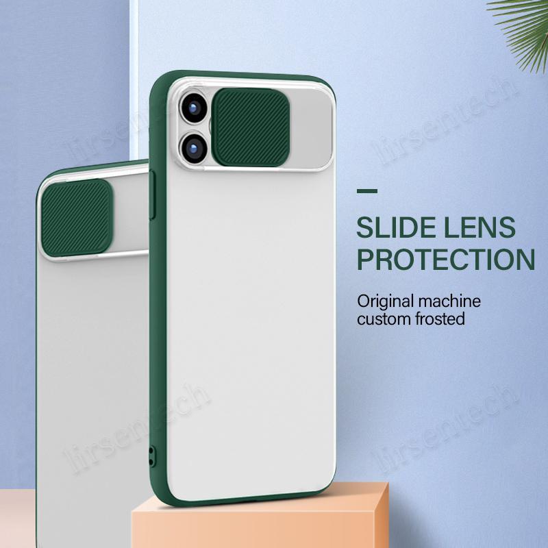 Forma clara fosco translúcido à prova de choque Lens Slide Phone iPhone For Cover 12 11 pro Max XR SE 2020 8 7 Plus 6s Deslize câmera Hard Case