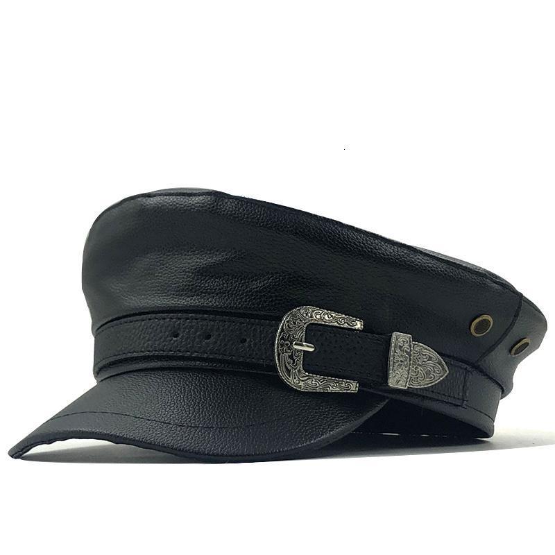 Fille Beret Femme Automne chapeaux d'hiver pour les femmes dames 100% Pu cuir Beret Cap Boina Feminina Gorras os Vintage Angleterre Noir