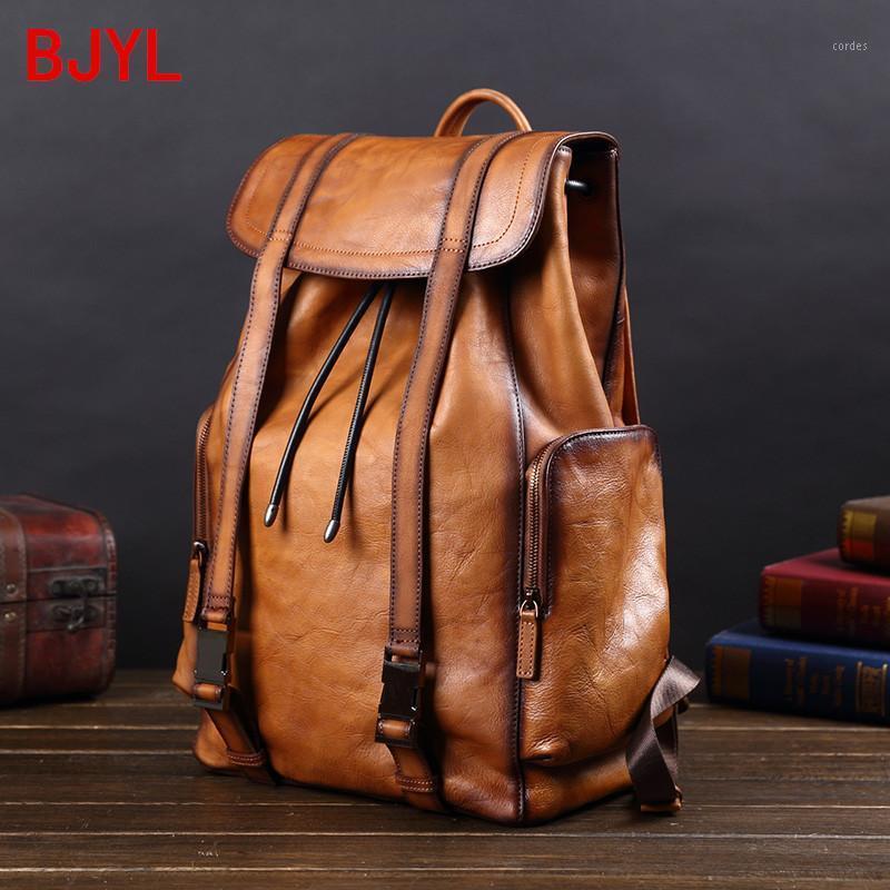 Nuevos hombres de cuero vintage mochilas de cuero de vaca bolsa de laptop de cuero completo con cordón de hombre con cordón de viaje Mochila de viaje Bagbag genuine Big1