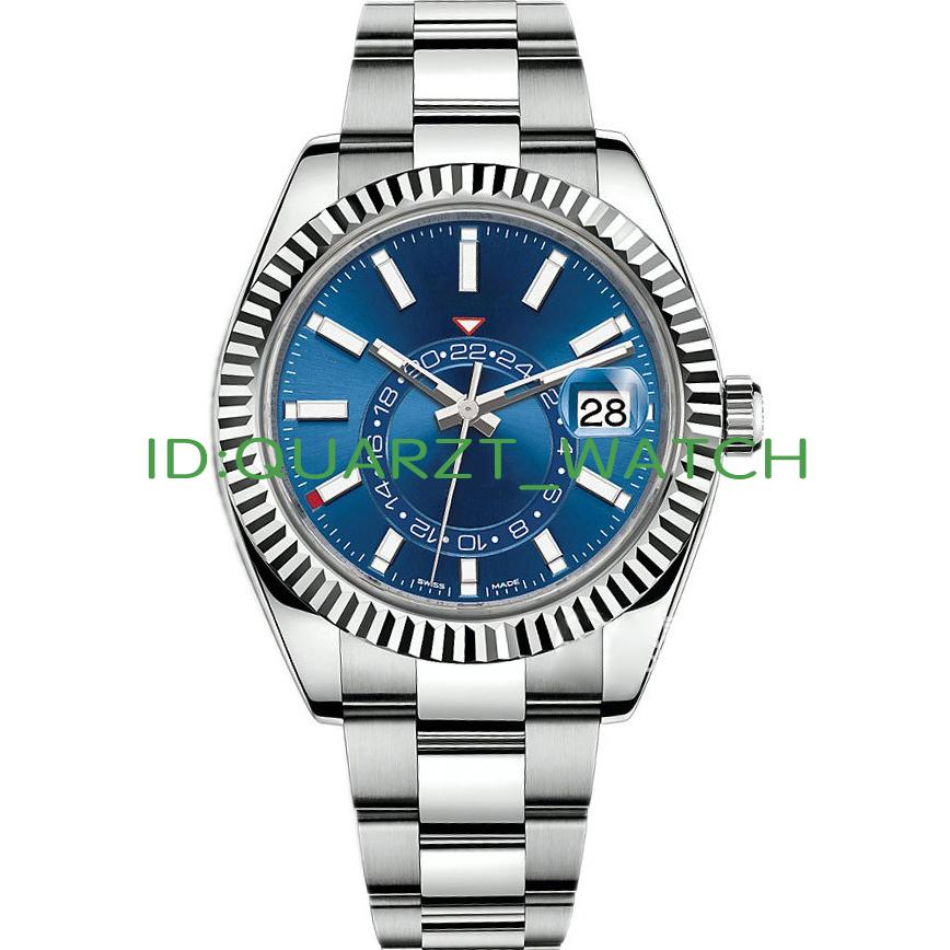 High Quality Sky Deluxe Men Watches Automatic Mechanical Fashion Business Stainless Steel Gold 2813 movement Luminous Waterproof Watches