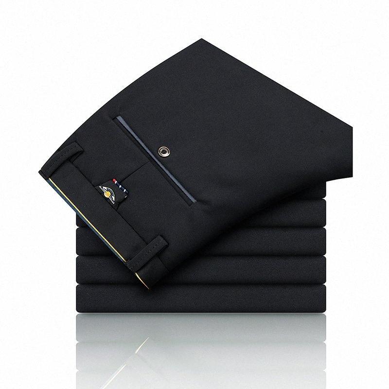 Commercio diritto casuale Business Suit Pantaloni Mens Pant disegno della molla cotone casuale dimagriscono i pantaloni diritti stile britannico Busin gBND #