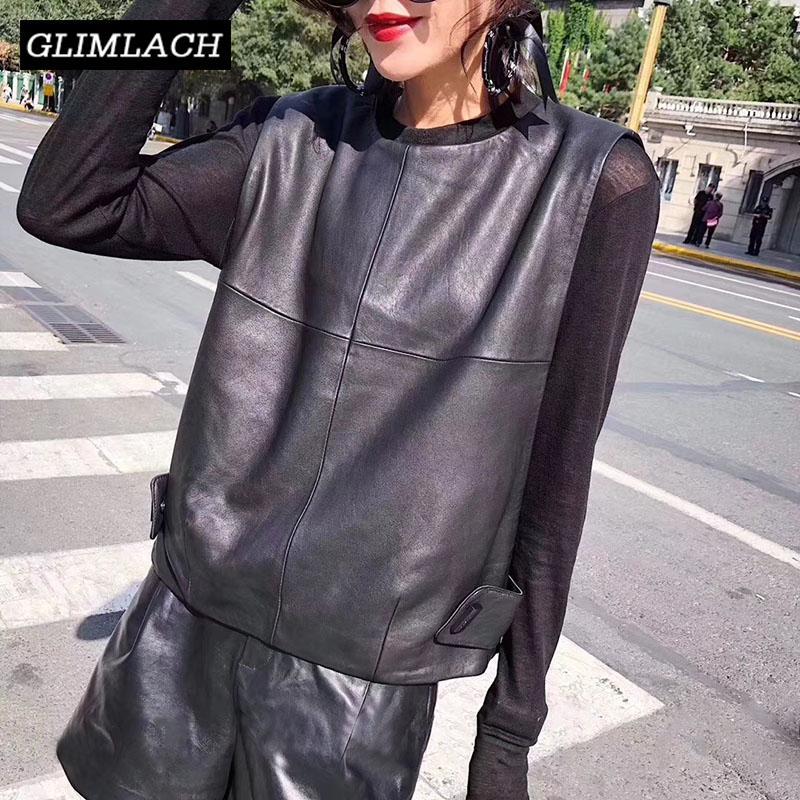 Mulheres Couro Colete de pele de carneiro soltas Fit pulôver sem mangas Jacket Lady Autumn Curto Leather Vest Streetwear Tops 201016
