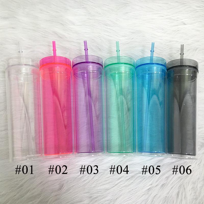 6 colores 22oz Acrílico Skinny Skinny Vaso con tapa y pajitas Taza de viaje plástica clara de doble pared