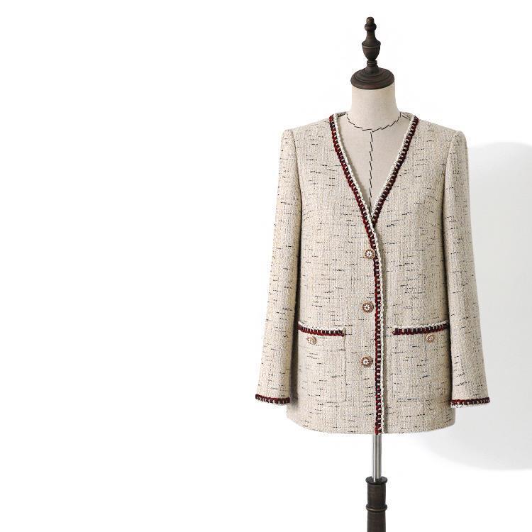 المرأة الصوف يمزج 2021 الخريف المرأة عالية الجودة الخامس الرقبة منقوشة تويد معطف الأزياء الكورية نمط فضفاض B018