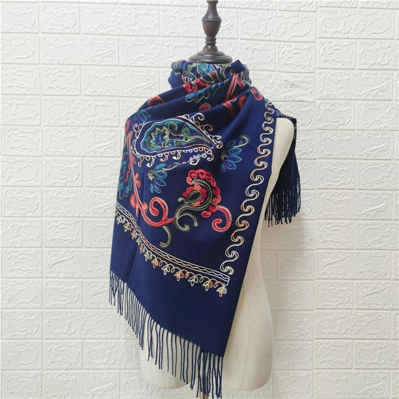 Scarves 2021 Autumn Winter Cashmere Embroidery Scarf Thick Warmth Tassel Ethnic Red Girls Luxury Designer Women Shawl Knitted1