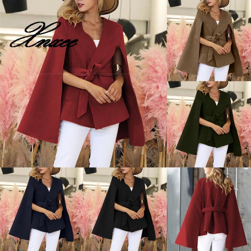 Xnxee Autumn Winter Women's Wool Coat Solid Long Sleeve Split Cuffs Waist Casual Capes V-Neck Belt Female Cloak Wool Coat1