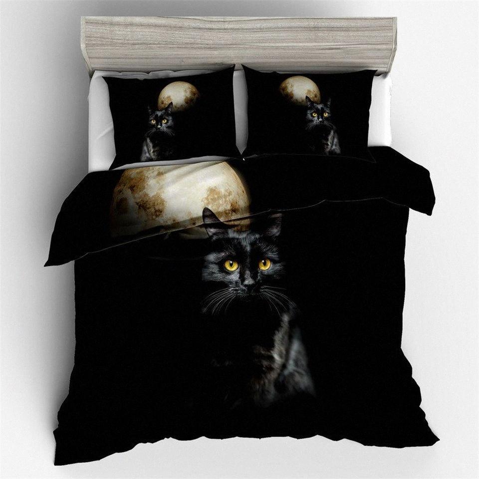 Copripiumino Bedding Set 3 D Stampato luna e gatti animali twin set Lenzuola US AU UE nero di formato la biancheria da letto 220 X 240 CM LICR #