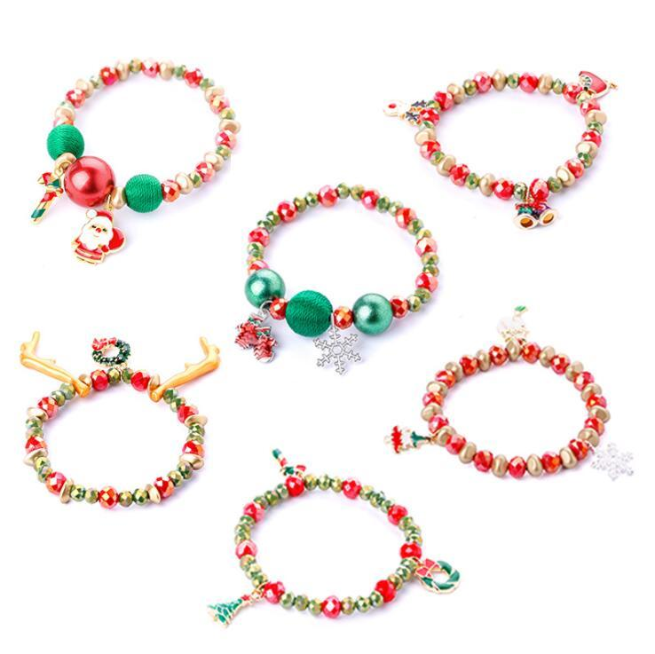 عيد الميلاد 6 أنماط للاطفال مجوهرات سحر سوار عيد ميلاد سعيد دير شجرة ندفة الثلج سوار حزام مجوهرات هدية
