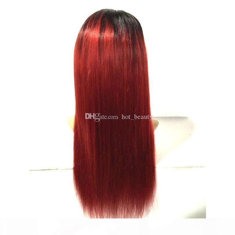 1b 99j rote Spitze Frontperücke 130% 180% High Denisty Seide Gerade Ombre Human Haar Glueless Full Spitze Perücken für schwarze Frauen