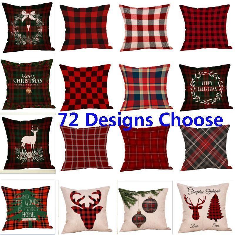 Christmas Stripe Covers New Plaid Linen Sofa Pillow Case Cushion Cover Xmas Gift Home Decor 72 Style DHB2771