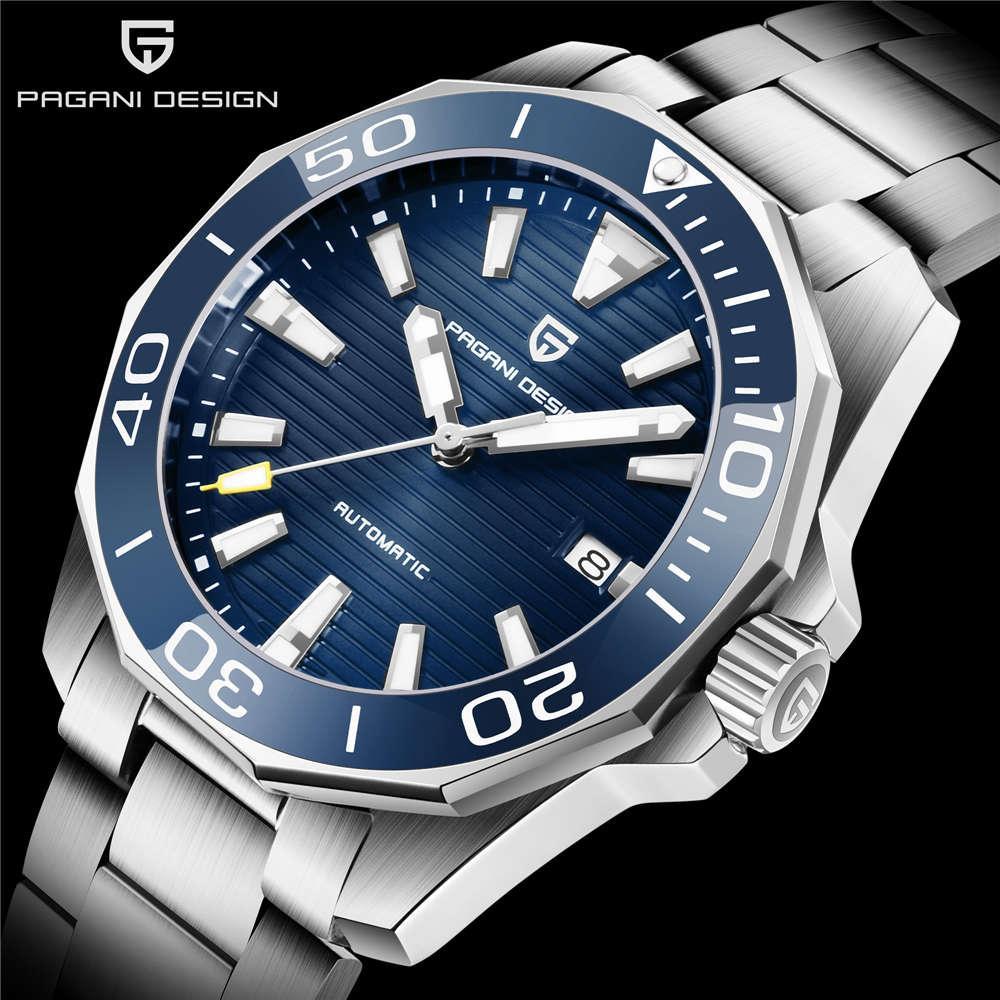 Pagani Dign - мужские автоматические часы, сапфир, механические, роскошь, окрашивает сталь, 100 м, водонепроницаемый, меканишка КЛККАЗОР