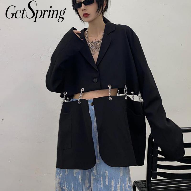 Traje Blazers Getspring mujeres de la chaqueta irregular del remiendo de ahueca hacia fuera Blazers Chaquetas Asimetría Casua largas 2020 Nuevo