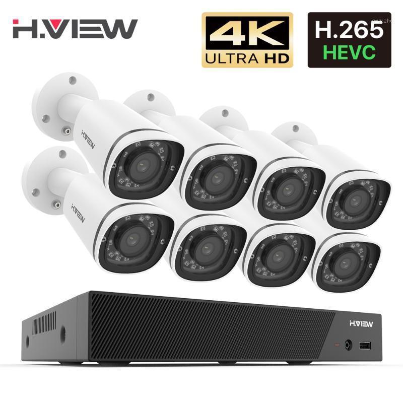 H.View 8ch 4k poe nvr فيديو مراقبة كيت H.265 CCTV نظام الأمن 8MP في الهواء الطلق ماء سجل الصوت poe IP كاميرا STET1