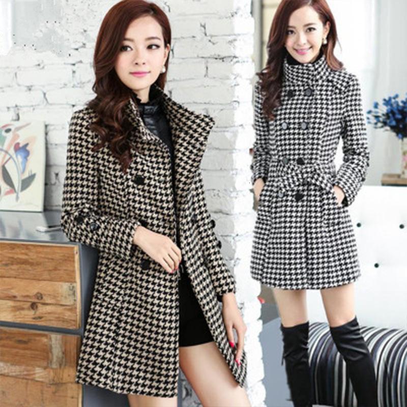 New Women's Wool Blends Coat Winter 2019 Otoño Moda Moda elegantes Turtimeneck Plaid Slim Long Tweed Woolen Outerwear Mujer