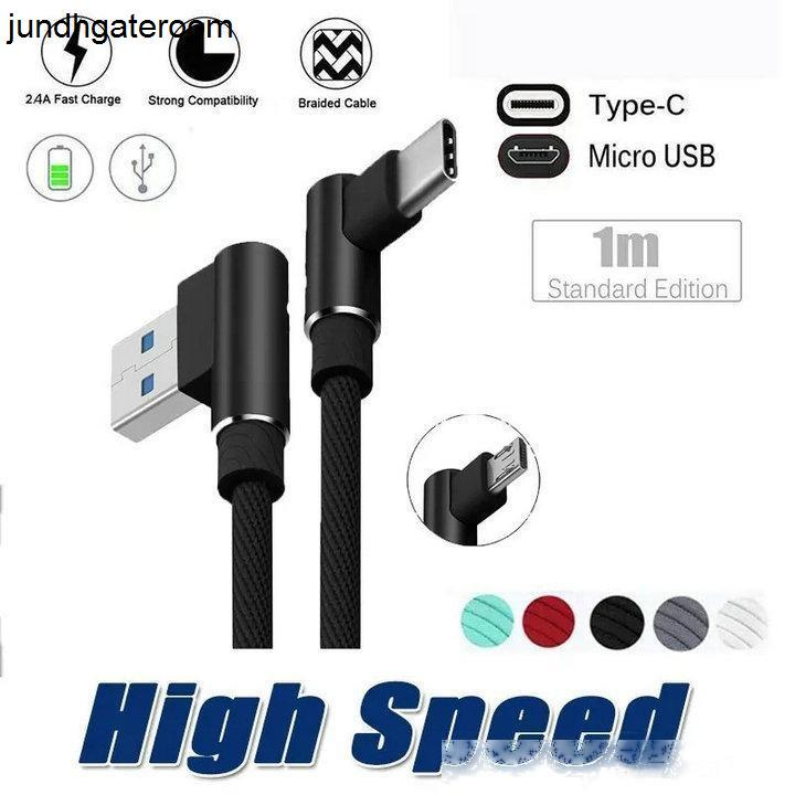 Угол 90 градусов Правый CGJXS Тип C Плетеный Micro USB быстрые данные синхронизации 2 .4a Зарядное зарядное провод шнур для S10 S9 NO