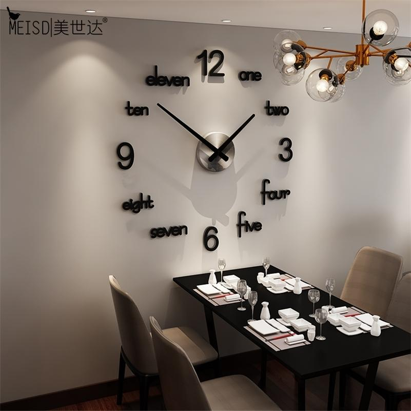 MEISD Qualité Acrylique Horloge murale Creative Design moderne Design Autocollants Quartz Montre Maison Noir Accueil Décor Salon Horloge Livraison Gratuite Lj201211