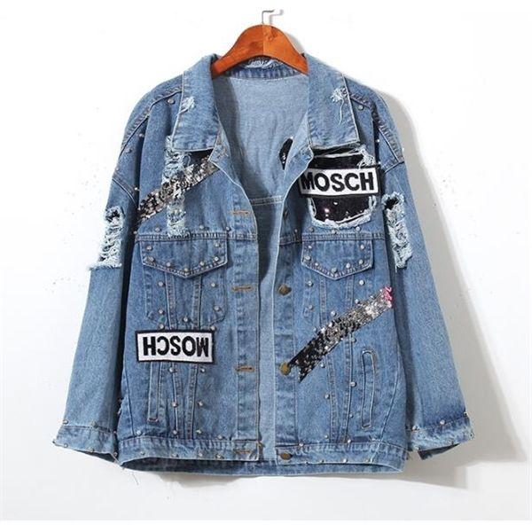 Kadın Bayanlar Ayı Yama Kot Ceket Sequins Ile Pins Kadınlar Punk Boncuk Uzun Kollu Gevşek Sokak Giyim Kot Jeans Ceketler Coatx1016