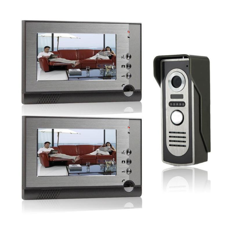 Görsel interkom Kapı zili 7 '' TFT LCD Kablolu Görüntülü Kapı Telefon Sistemi Kapalı Monitör 1000TVL Açık IR Kamera Desteği kilidini