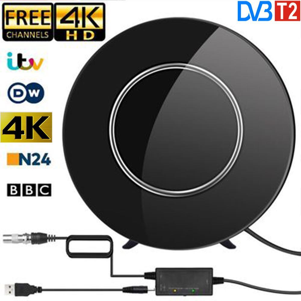 DVB-T2 K4 HDTV Antena de interior Digital Actualización 2020 Amplificación 150 millas Rango de soporte 4K 1080p TV Signal Digital Booster