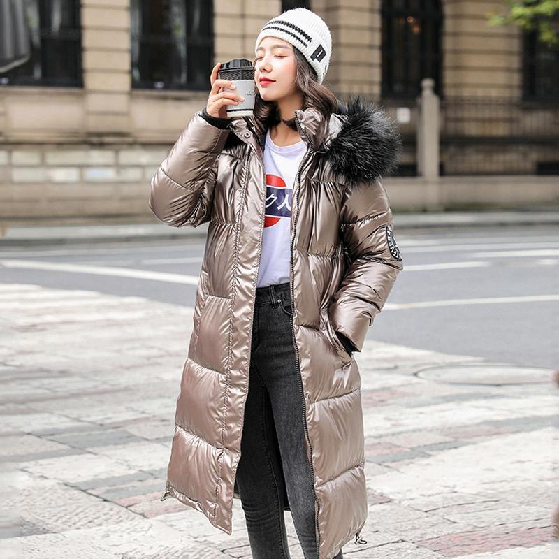 Зимний пуховик Женщины X-давно Solid Блестящих плюс размером капюшона Женского Puffer пальто с меховым воротником Epaulet Повседневных Толстых Outwear