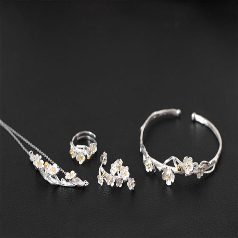 Authentic 925 Conjuntos de joyas de plata esterlina para mujeres Regalos de boda Nueva étnica Hecho a mano Flor Anillo de compromiso abierto Collar Pendientes de brazalete
