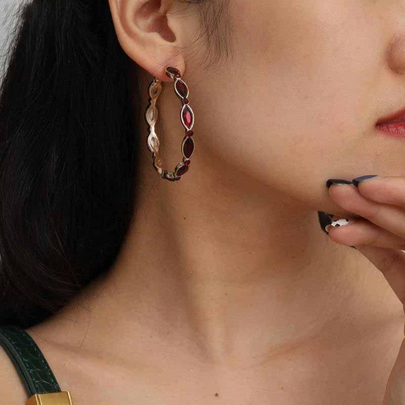 Brinco de aro vermelho vintage para mulheres cor ouro bohemia golad cor gótica grande círculo brincos moda orelha jóias