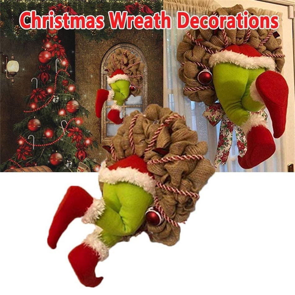 Ladrón navideño robo de navidad corona de arpillera Decoraciones navideñas Santa Claus guirnalda para ventana de pared Regalos de Navidad