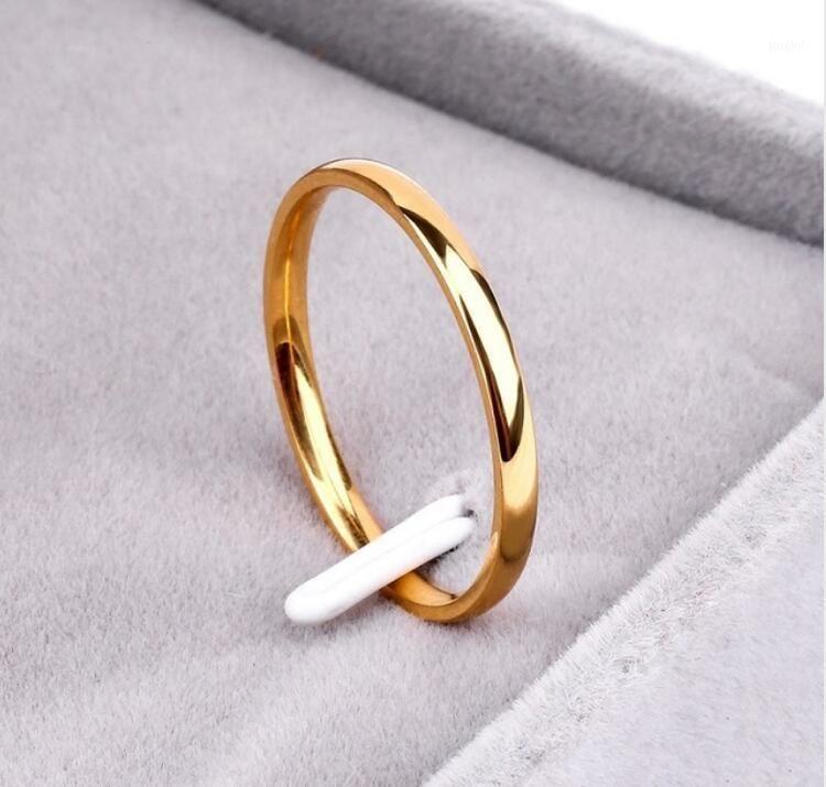 Titanium Aço Rosa Ouro Anti-Allergy Liso Simples Casais anel Bijouterie para homem ou mulher presente1