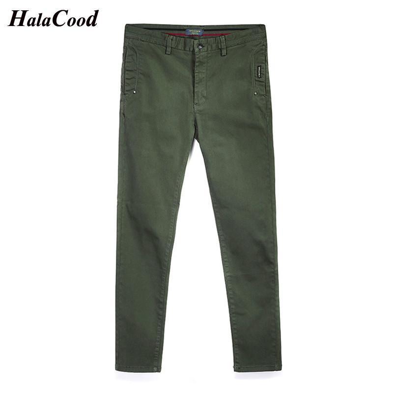 homens da mola outono Calças Negócios Calça Casual puro algodão simples moda Calças retas Tendência Versátil Magro elásticas