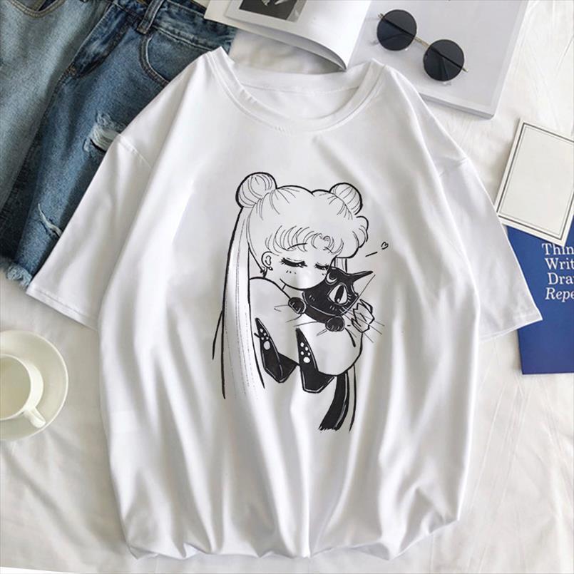 Sailor Moon Cat T Shirt Women 2020 Summer Kawaii Style Clothes Harajuku Tshirt Ulzzang Casual Short Sleeve Tee Top Femme T shirt