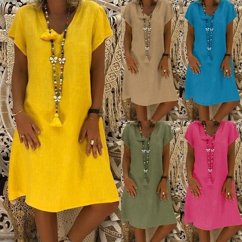 Damen lose kleider baumwolle leinen lässig plus größe ven nein frauen sommer stil feminino vestido