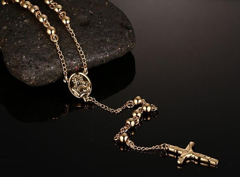 Мода длинные четки шарма цепи Иисуса ожерелье подвески Мужские нержавеющей стали мужские ювелирные изделия, серебро / золото / розовое золото покрыло цвет
