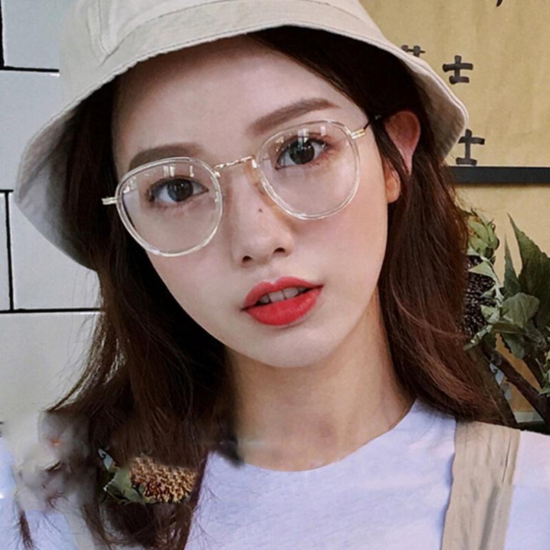 رجل امرأة شفاف معدن نظارات الإطار الذهب الأسود نظارات نظارات ريترو كبيرة جولة نظارات