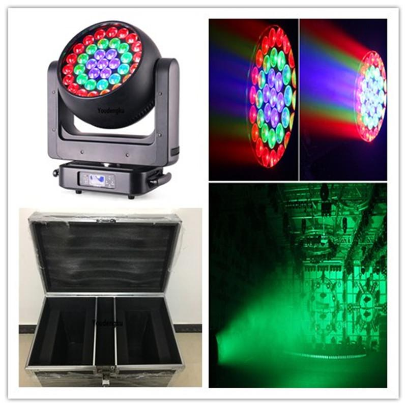 6pcs with fly case moving head Dance Hall wash 37x20w rgbw 4in 1 ring control led beam bee-eye zoom moving head party lighting
