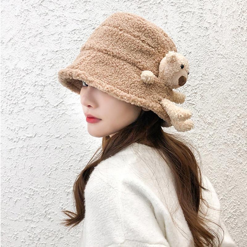 Femme hiver moelleux peluche chapeau chapeau de godet chaud mignon 3D peluche en peluche ours en peluche large harajuku en plein air Panama pêcheur capuchon