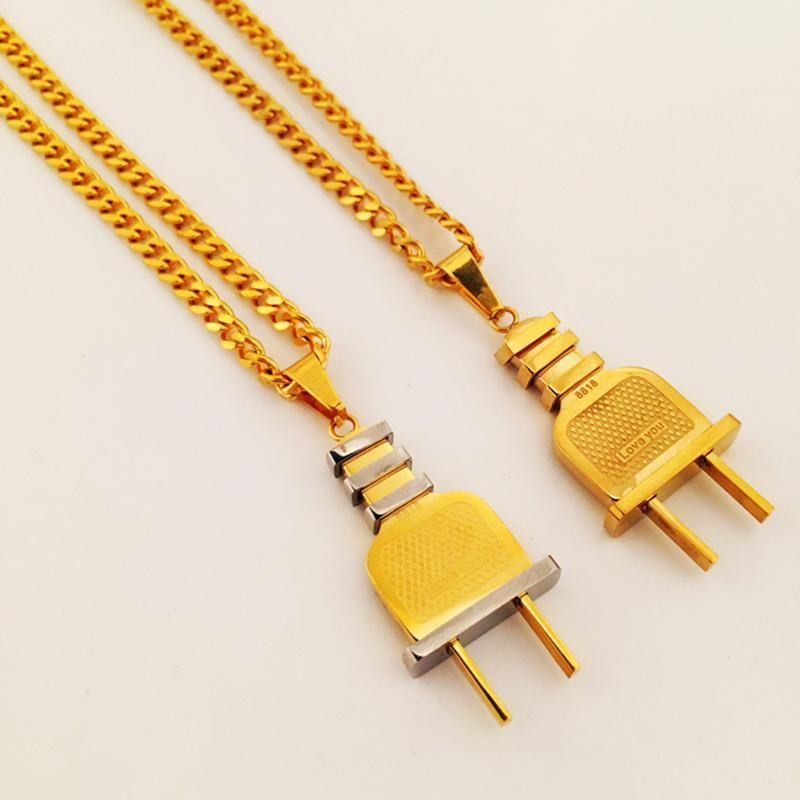 Tomada Forma pingentes colares Homens Mulheres Hip Hop Stainless Steel Gold-cor Charme presentes Chains Jóias