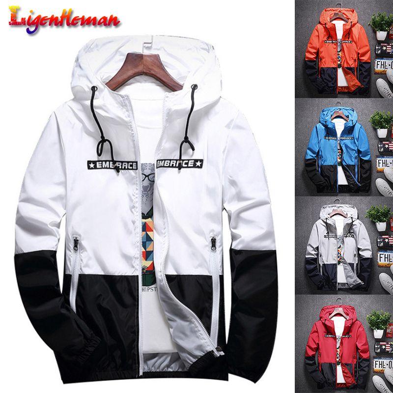 Primavera Outono com capuz Luz Waterproof Bombardeiro New Zipper Fino Brasão Men Casual Jacket Magro Patchwork Windbreaker
