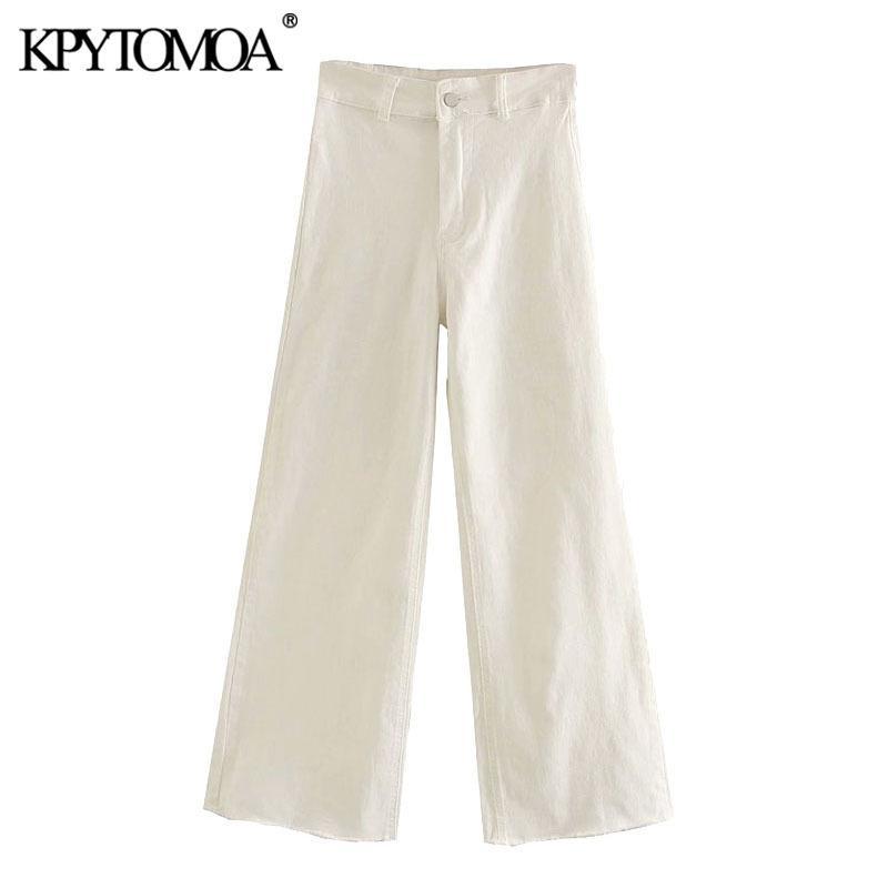 KPYTOMOA donne elegante di modo vita alta jeans diritti Pantaloni Vintage con Cerniera Tasche femminile caviglia Pantaloni Pantaloni 200930