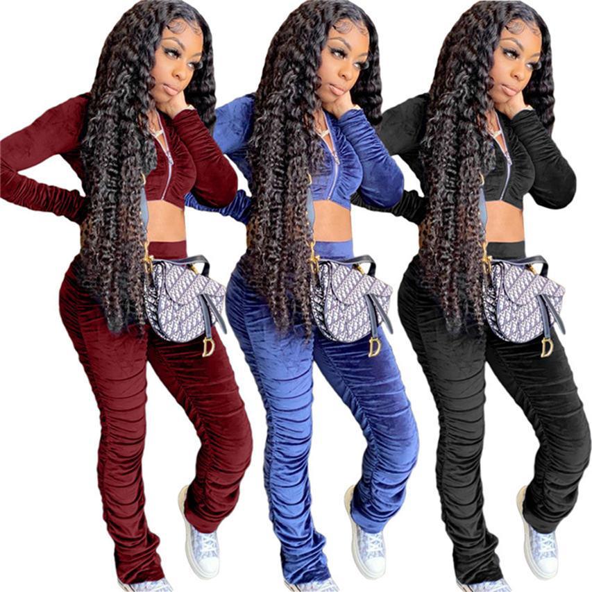 women solid color pleuche sweatsuits 2 pieces set cardigan +pants sportswear long sleeve tracksuit casual fall winter jogging suit 4332