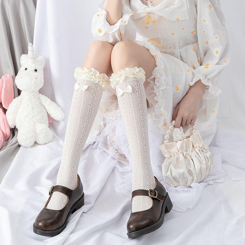 일본리에 로리타 송아지 양말 레이스 공주 리본 로리타 양말 여성 소프트 자매 Bowknot 단색 달콤한 중반 튜브 양말 코스프레