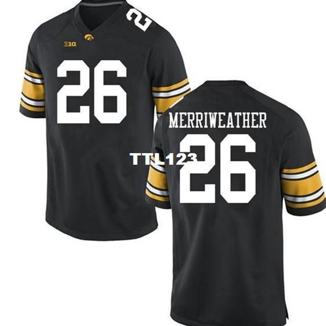 2019 neue Männer Iowa Hawkeyes Kaevon MerriWeather # 26 Black Real Full Stickerei College Jersey Größe S-4XL oder benutzerdefinierte Name oder Nummer Jersey