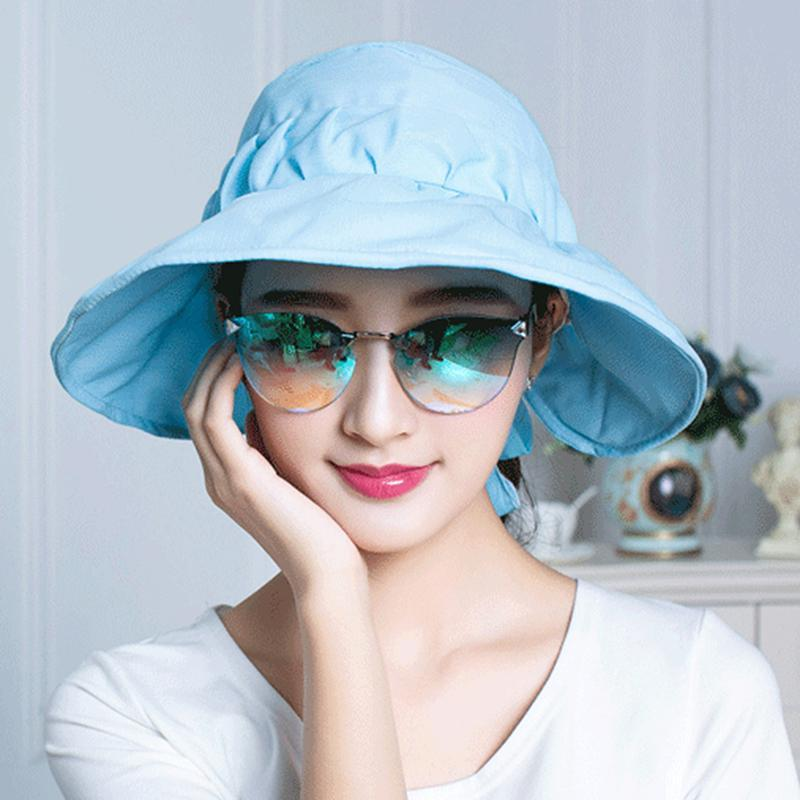 Art und Weise Bowknot verzierte Sonnenblenden Hut Removable Tophat Frauen-Sommer-Caps im Freien Breathable Anti-UV-Sonnenhut Sombreros