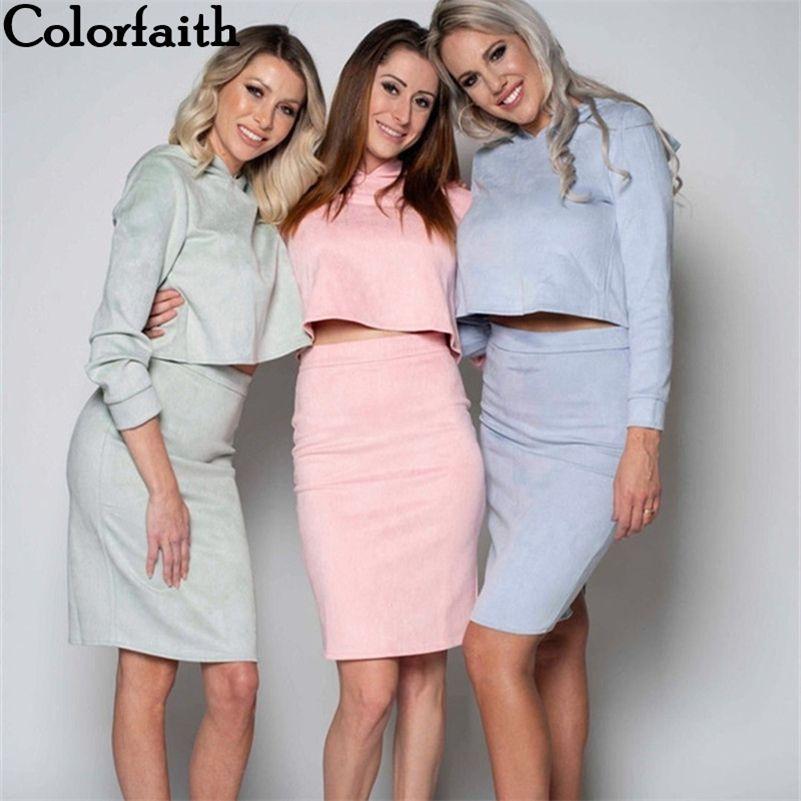 Colorfaithait Осень зима замша женские набор с капюшоном толстовка и щель для карандашей и щелочная юбка для карандашей женщины 2 кусок набор WS0577 201124