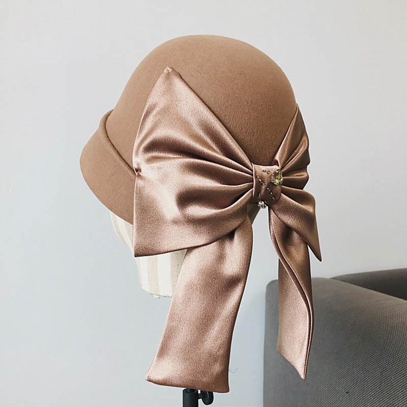 Fibonacci 2020 Nueva Calidad Field Field Fedoras Otoño Invierno Cubo Cubo Sombreros Retro Cinta Arco Dome Elegante Banquete Fedora Hat