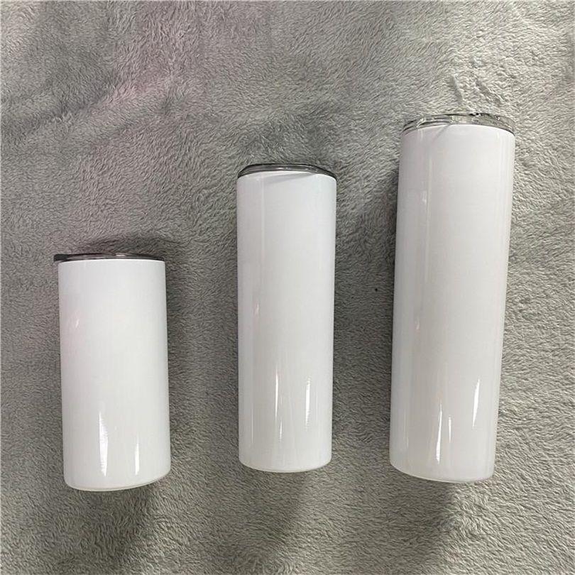 Sublimation Straight Tumbler-Leerzeichen 15-20-30 Unze Edelstähle Autoschalen Tumblers Reisen Tassen mit Stahlstroh Isolierter Wasserflasche