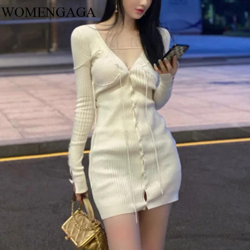Casual Dresses Womengaga volle Ärmel V-Ausschnitt Stricken Single Breasted Slim High Taille Pullover Kleid Weibliche Mode Vestido 5P0V