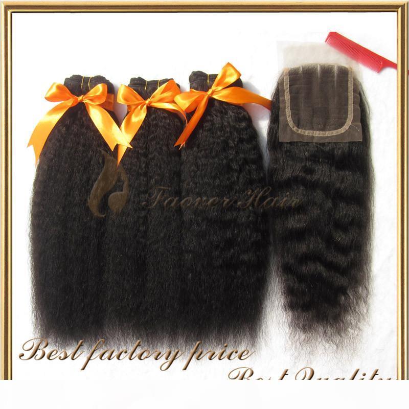 Top Brasiliano Capelli Vergini Vergini Natural Color Kinky Straight Grovarse Yaki 3 Pz Tessuto per capelli con 1 PC Lace Top Chiusura 4pcs Lotto