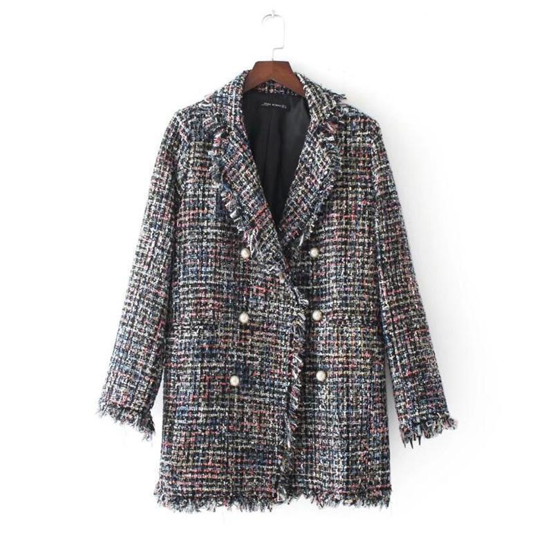 2020 Nouvelle Automne Hiver grande taille couleur femme frangée manteau de laine Vintage à manches longues cc504 double veste croisée