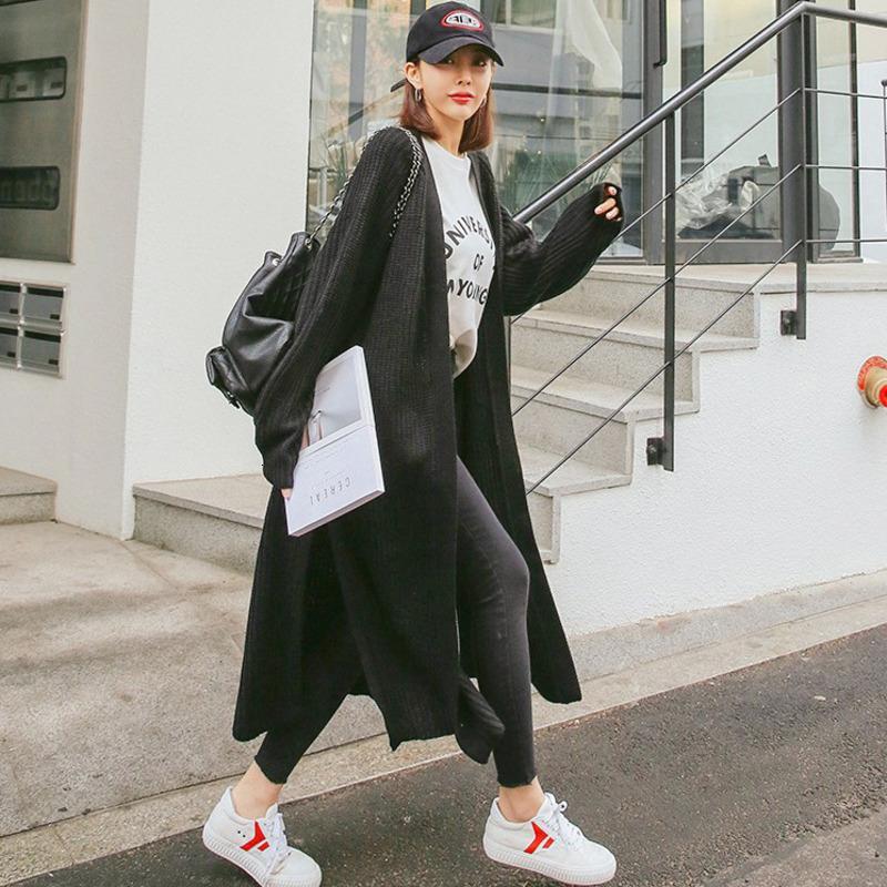 [EWQ] Corea de manga larga abierta puntada ocio suéter de punto de 7 colores más el tamaño de la Mujer Negro largo de la capa de lana de las mujeres 2020 nuevos otoño
