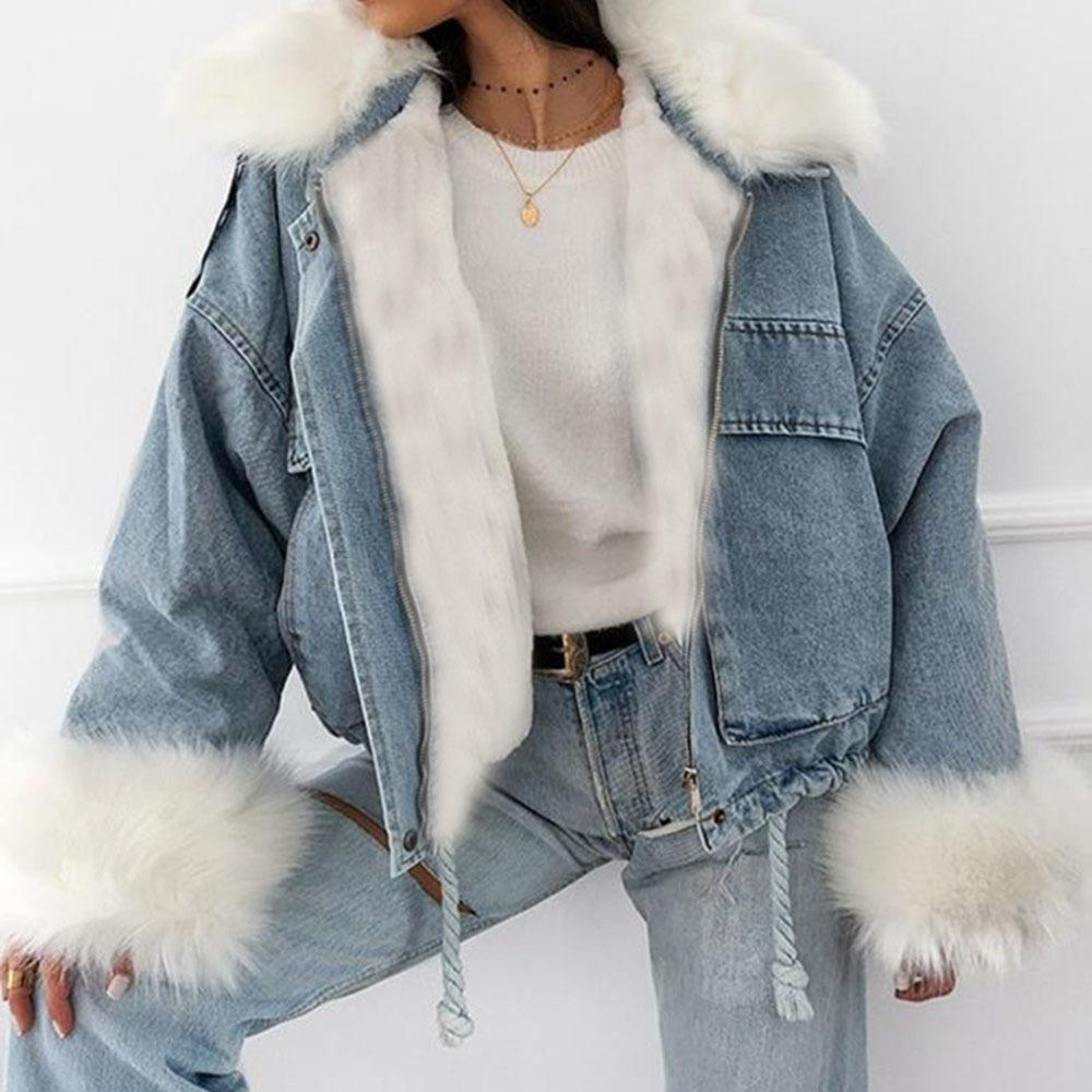 Veste en denim Femmes décontractées manches longues manches courtes manteaux de fourrure collier de fourrure Vêtements de vrac Sous style Streetwear Outwat Denim Coats 201031